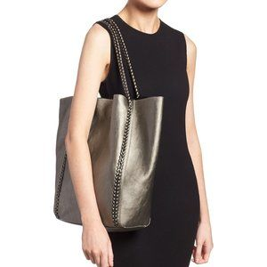 Phase3 Metallic Braided Chain Faux Leather Tote